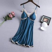 Женская ночная сорочка с кружевными подтяжками Тонкая шелковая