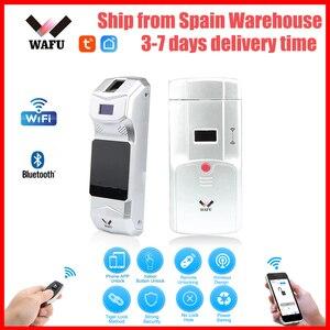 Image 1 - WAFU 011A חכם מנעול מנעולי Tuya Wifi Bluetooth מנעול טביעת אצבע מנעול טלפון שליטה מרחוק בקרת אצבע מגע מנעול בלתי נראה