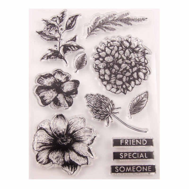 아름다운 꽃 금속 절단 죽 & 명확한 우표 투명한 실리콘 우표 장 Cling Scrapbooking DIY 우표 다중 디자인
