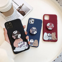 We Bare Bears Lquid Case for Vivo IQ00 S1 Z5 Y7S Neo V15 X20 X23 X27 X9 X9S V5 Plus Soft Holder Cover Bracket Cartoon Phone Case(China)