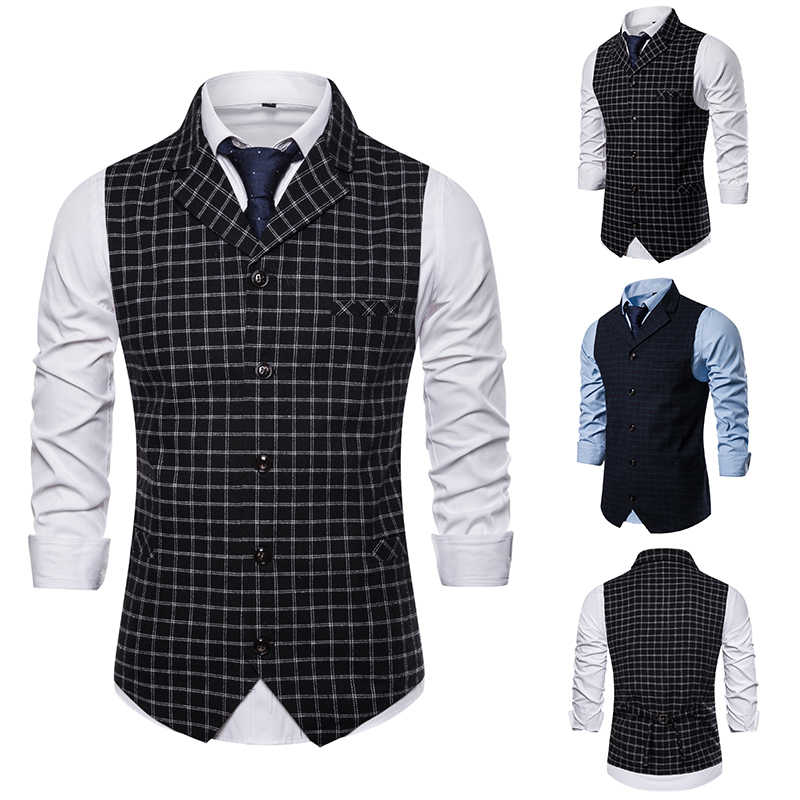 Merk Vest Mannen 2019 Smart Casual Britse Stijl Singlet Breasted Plaid Vest Business Slim Fit Gilet Mouwloze Jas