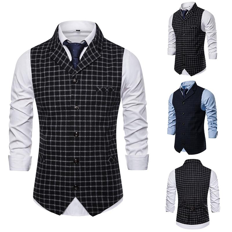 Brand Waistcoat Men 2019 Smart Casual British Style Singlet Breasted Plaid Vest Business Slim Fit Gilet Sleeveless Jacket