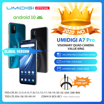 In Stock UMIDIGI A7 Pro Quad Camera Android 10 OS 6.3 FHD+ Full Screen 64GB/128GB ROM LPDDR4X Octa Core Global Version Phone