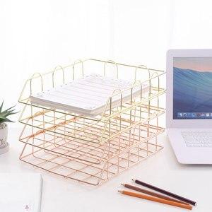Nordic Metalen Home Office Opslag Mand Desktop A4 Papier Bestand Organisatie Tijdschrift Krant Organizer Storage Rack Holder