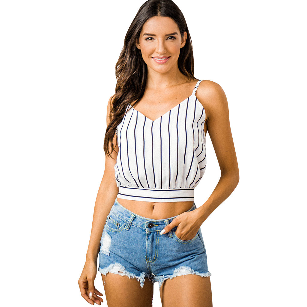 Sexy Crop Tops Self Tie Back V Neck Striped Summer Top Crop For Women Cotton Blended Blouse Tank Tops Women'S Clothing Camisole