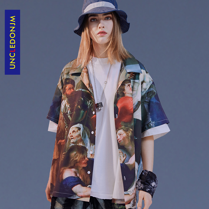 Angels Painting Print Short Sleeve Button Shirts Coats Streetwear Hip Hop Harajuku Summer Casual Shirt Outwear Tops Sur-w933