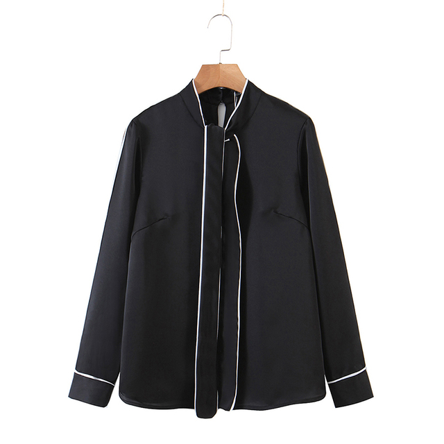 ZA 2020 New Fashion Women Patchwork Solid color chiffon shirt Blouses bowknot Long Sleeve Chiffon Shirt Casual Loose Tops 2
