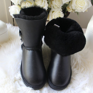 Image 2 - 2020 Fashion Top Quality Woman Snow Boots Genuine Sheepskin Leather Women Boots 100% Natural Fur  Warm Wool Winter Boots Shoes