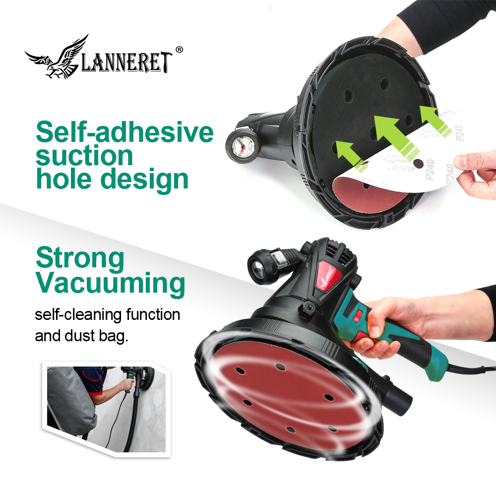 Image 5 - LANNERET Electric Drywall Sander Wall Polisher Machine 1280W / 850W Dry Wall Sander Polisher Variable Speed LED Light Dust Free-in Sanders from Tools on