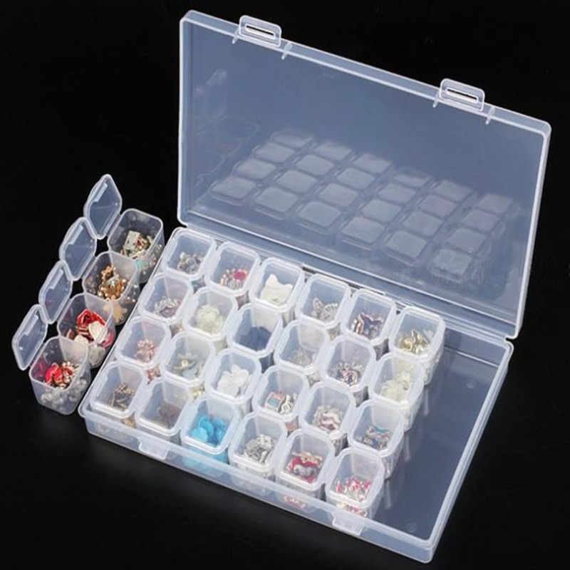 28 Slots Transparent Nail Art Storage Box Plastic Holder For Jewelry Rings Earring Rhinestone Diamond Painting Organizer Display