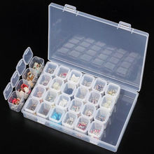 28 Slots Transparent Nail Art Storage Box Plastic Holder For Jewelry Rings Earring Rhinestone Diamond Painting Organizer Display(China)