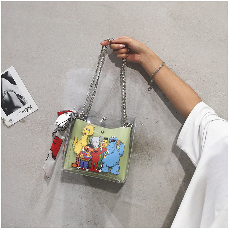 Sesame Street Baggage Girls New Transparent Cute Cartoon Baggage Chain One Shoulder Slant Baggage Girls