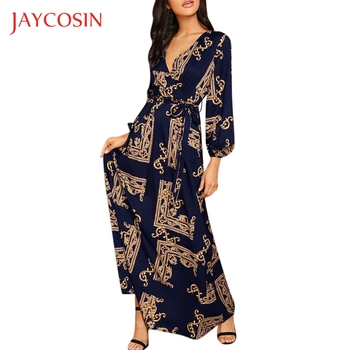 JAYCOSIN Long maxi dress Women V-Neck Long Sleeve vestidos vintage Dress Print Lantern Sleeve Wrap party Dress woman dresses 823 cherry print wrap dress
