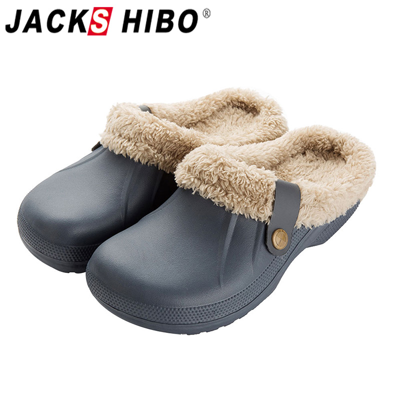 JACKSHIBO Men Slippers High Quality PU Leather Winter Home Slippers Short Plush Flat Heel Male Slipper Warm Indoor Slide Shoes