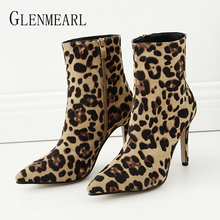 Ankle Boots For Women Winter Shoes Female Boots Women  High Heels Leopard Pointed Toe Casual Shoes Plus Size Female Shoes 2019 цена