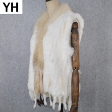 2019 Hot Sale Party Women Real Rabbit Fur Vest Knitted Tassels Real Genuine Rabbit Fur Gilet Real Raccoon Fur Collar Waistcoat cheap doakxol Raccoon Dog Fur Fashion Slim Fur Real Fur YH-80823 STANDARD REGULAR With Raccoon Dog Fur Collar Sleeveless Covered Button