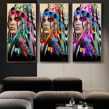 Colorful Art Indian Girl Canvas Art Wall Paintings Watercolor Indian Woman With Feather Posters And Prints For Living Room