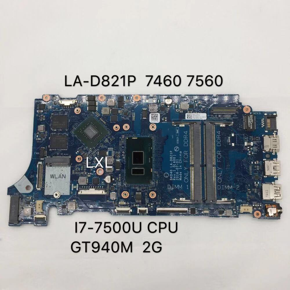 LA-D821P CN-09WC1G 09WC1G 9WC1G com New <font><b>motherboard</b></font> for Dell Inspiron 7460 <font><b>7560</b></font> Laptop <font><b>motherboard</b></font> BKD40 i7-7500U 100% Test ok image