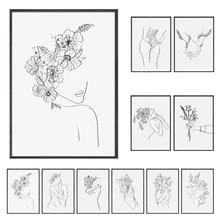Abstrato senhora linha de desenho imagem decoração da lona nordic arte da parede figura corpo mão cartazes e impressão para casa sala estar
