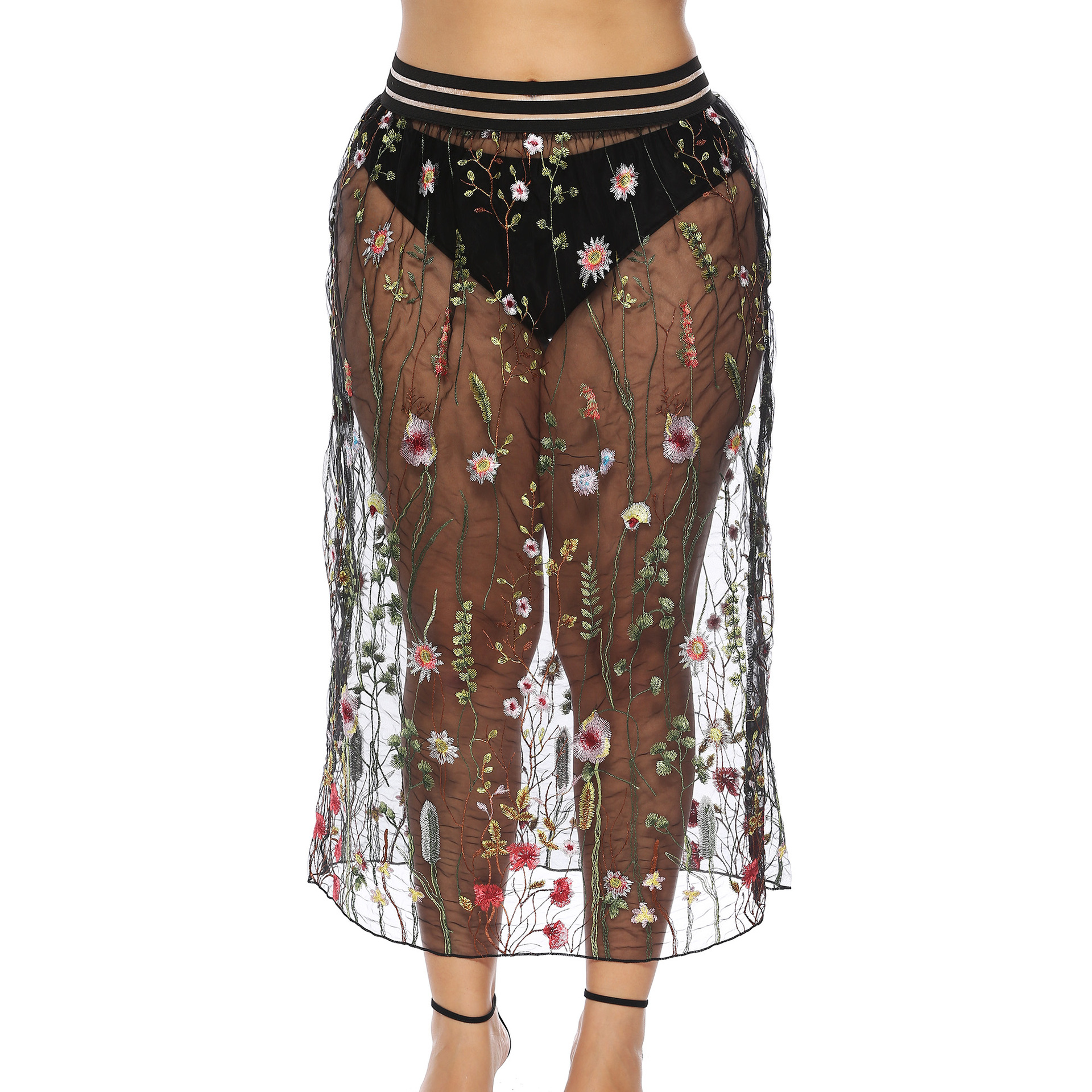 Large Size Dress Europe And America Sexy Transparent Embroidery Flowers Lace Skirt 1952