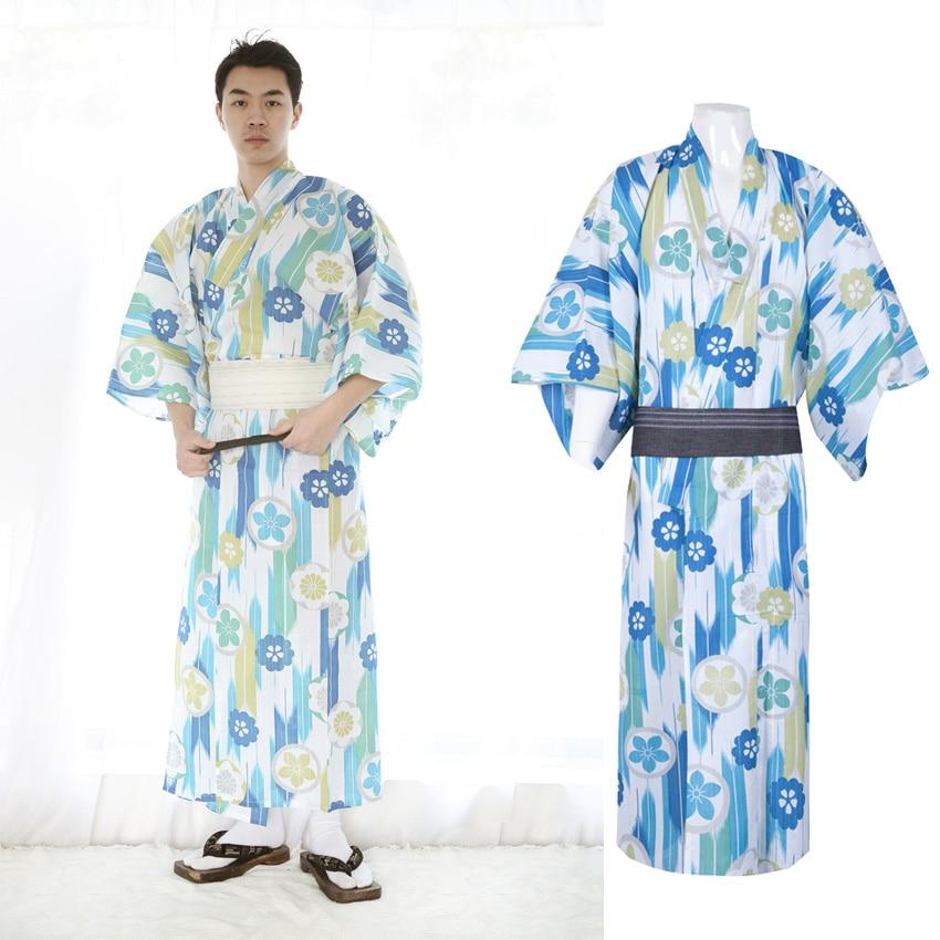 2PCs Pajamas Set For Men Traditional Kimono Robe V-neck Summer Loose Style Breathable Longg Bathing Gown Yukata Sleeewear