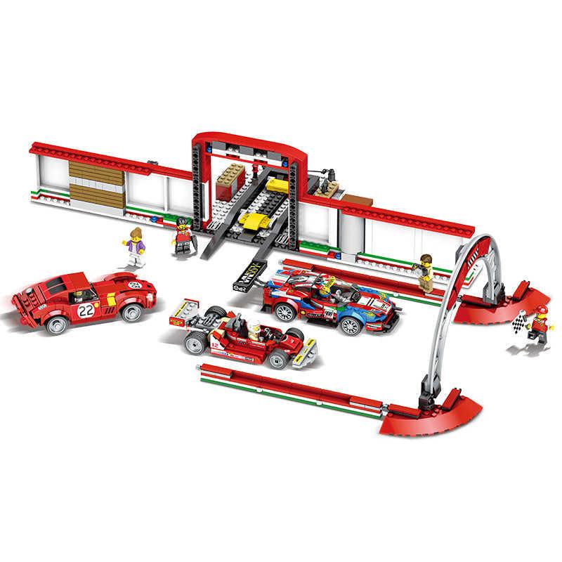 Ferro final garagem legoed speed champion 883 pçs corrida carro bloco de construção construção clássico brinquedo figuras compatíveis 75889