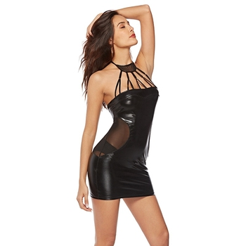 Sexy vestido halter para mujer, lencería de falso cuero pvc, Catsuit de látex, ropa de club, mini vestido fetiche erótico, ropa de noche