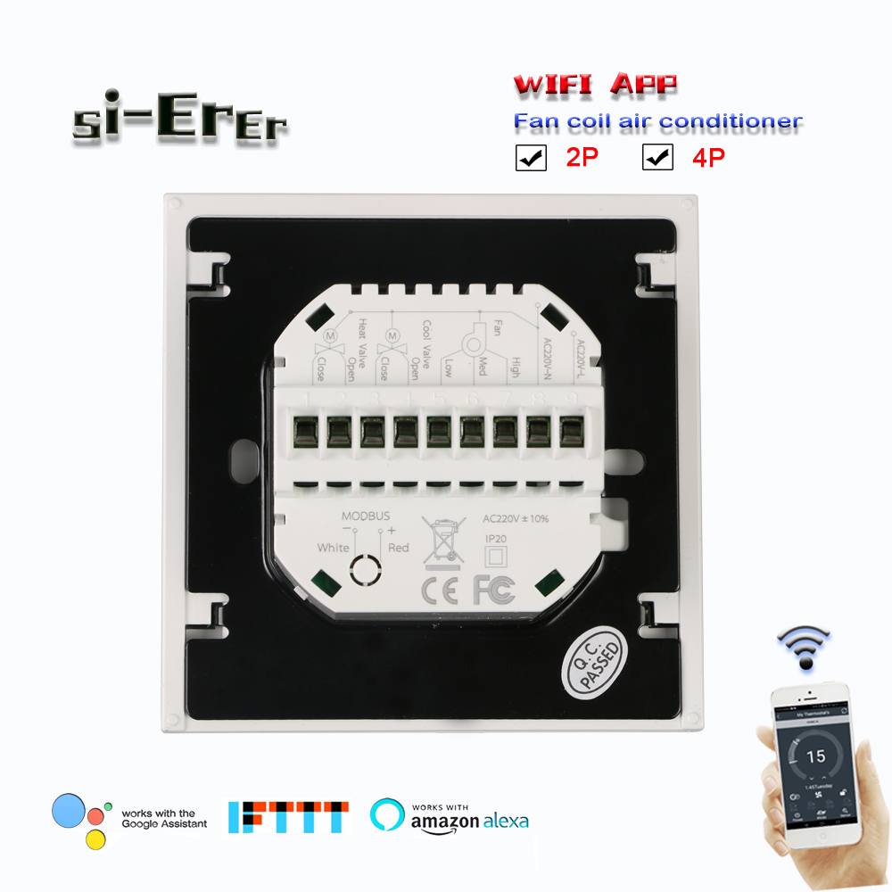 Wifi Thermostat-2p 4p Cooling/heating Temperature Control  Works With Alexa Google Home,95-240VAC 24VAC Optional