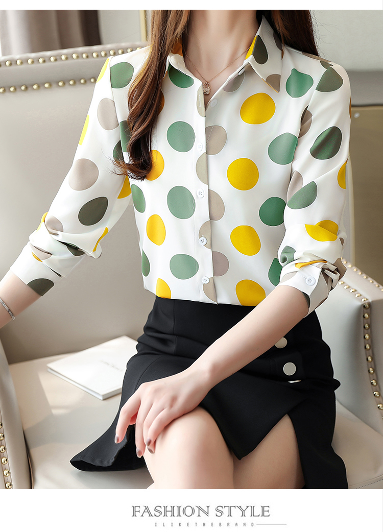 Chiffon Polka Dot Geometric Shirt 1