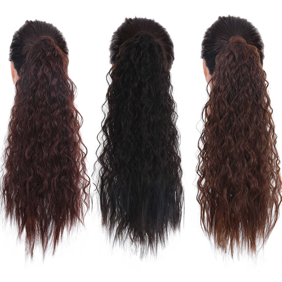 "HOUYAN ""rizado largo Cola de Caballo de pelo rizado artificial de cola de caballo de horquilla para cola sintético resistente al calor peluca larga"