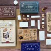 Набор деревянных штампов серии Sonnet в стиле ретро для рукоделия, деревянные штампы для скрапбукинга, канцелярские товары, стандартный штамп для скрапбукинга