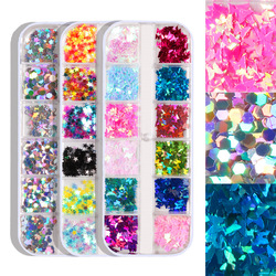 12 Grids Nail Glitter Butterfly Round Five-pointed Star Geometric Pattern 9 Kinds of 3D Nail Accessories In Sequin Mixed Colors