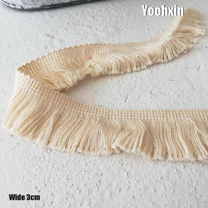 3CM Wide Fashion beige Embroidery flower lace fabric trim ribbon DIY sewing applique collar fringe tassel guipure dress decor