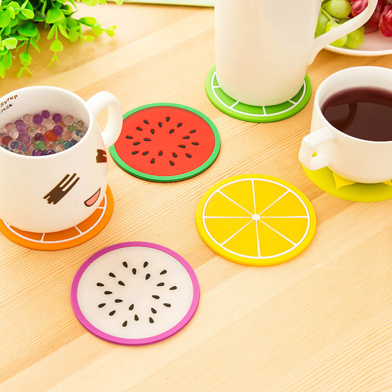 Coaster Placemat Stand Cup-Mat Table-Mats Slip-Holder Fruit-Shape Kitchen Silicone  title=