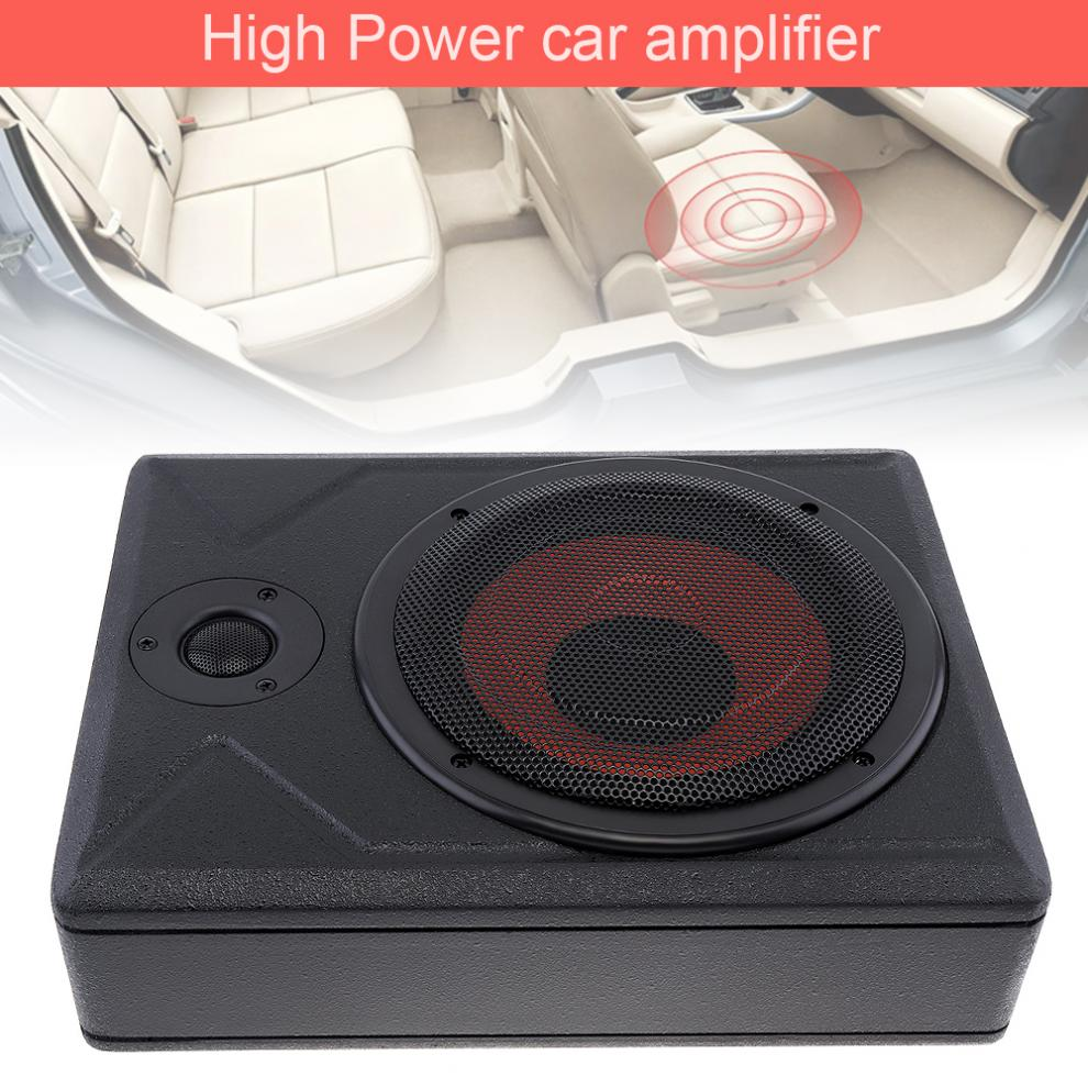 Universal Schwarz Rumpf Dünne Auto Aktiven Subwoofer Verstärker Lautsprecher 8 Zoll 600W Dünne Unter Sitz Auto Auto Bass Subwoofer
