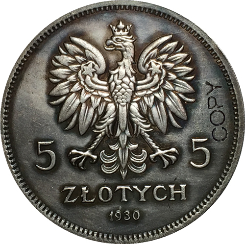 1930 5 Zlotych Poland Coins Copy