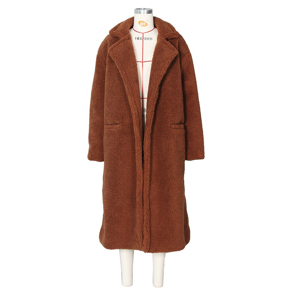 HAOYUAN Teddy Coat femmes décontracté lâche en peluche Long ours en peluche pardessus Oversize polaire épais vêtements d'extérieur chauds fausse fourrure vestes - 5