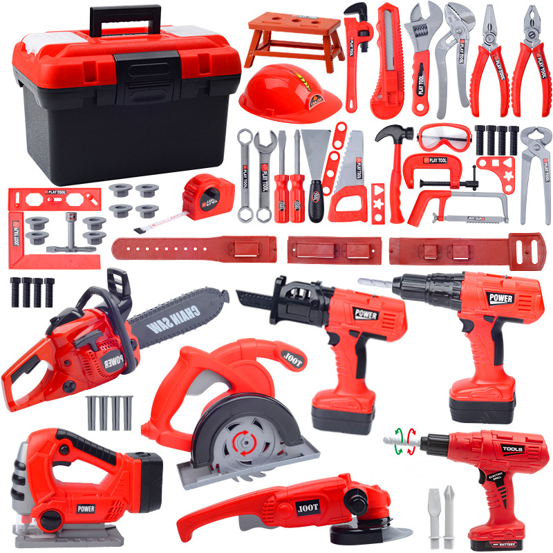 Children's Toolbox Engineer Simulation Repair Tools Pretend Toy Electric Drill Screwdriver Tool Kit Play Toy Box Set for Kids 4