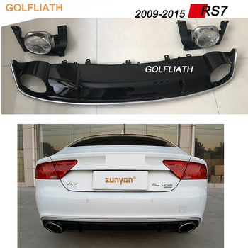 RS7 style PP+Stainless Rear Lip Bumper Diffuser Kit End Pipe Muffler Tip fit For Audi A7 2009-2015 Standard bumper