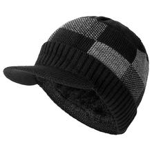 Bawełna wysokiej jakości dodaj futro rondo czapki zimowe Skullies czapka beanie dla mężczyzn kobiety czapki wełniane Gorras Bonnet czapka z dzianiny tanie tanio Dla dorosłych COTTON Z wełny Unisex Plaid H520 Skullies czapki Na co dzień