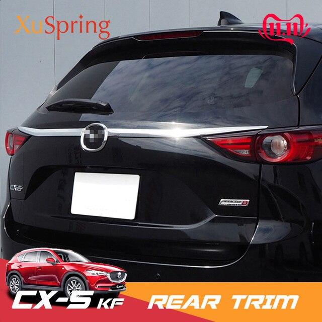 For Mazda CX 5 CX5 2017 2018 2019 2020 KF Car Rearguard Trunk Rear Bumper Tail Box Door Trim Stickers Strip Garnish Styling