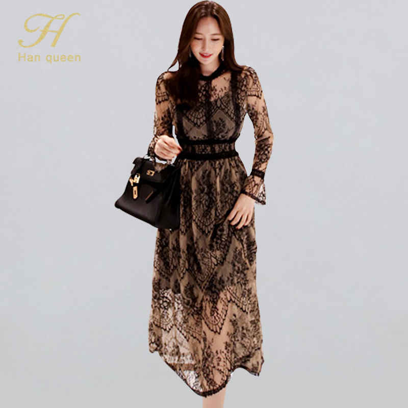 H Han Queen Hollow Out Patchwork Bottoming Lace Dress Women 2019 New Elegant Vintage Dresses OL Sexy See Through Work Vestidos