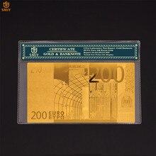 Yeni ürün 2018 avrupa 24k altın folyo para 200 Euro para altın kaplama sahte kağıt banknot koleksiyonu COA hediyeler için