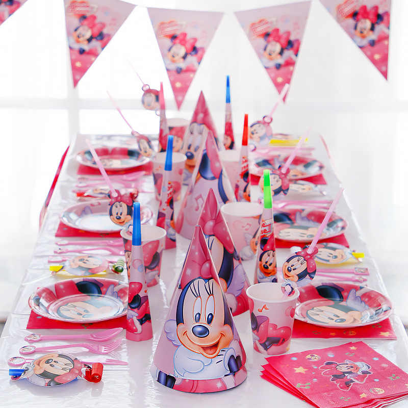131Pcs Cartoon Rode Minnie Mouse Disney Baby Shower Jongens Verjaardag Decoratie Wedding Event Feestartikelen Servies Sets Voor Kids