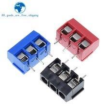 10 Uds. De tornillo KF301- 3 P, bloque de terminales de 5,0mm, conector de Bloque de terminales pcb empalmeable de 3 pines, negro, rojo y azul