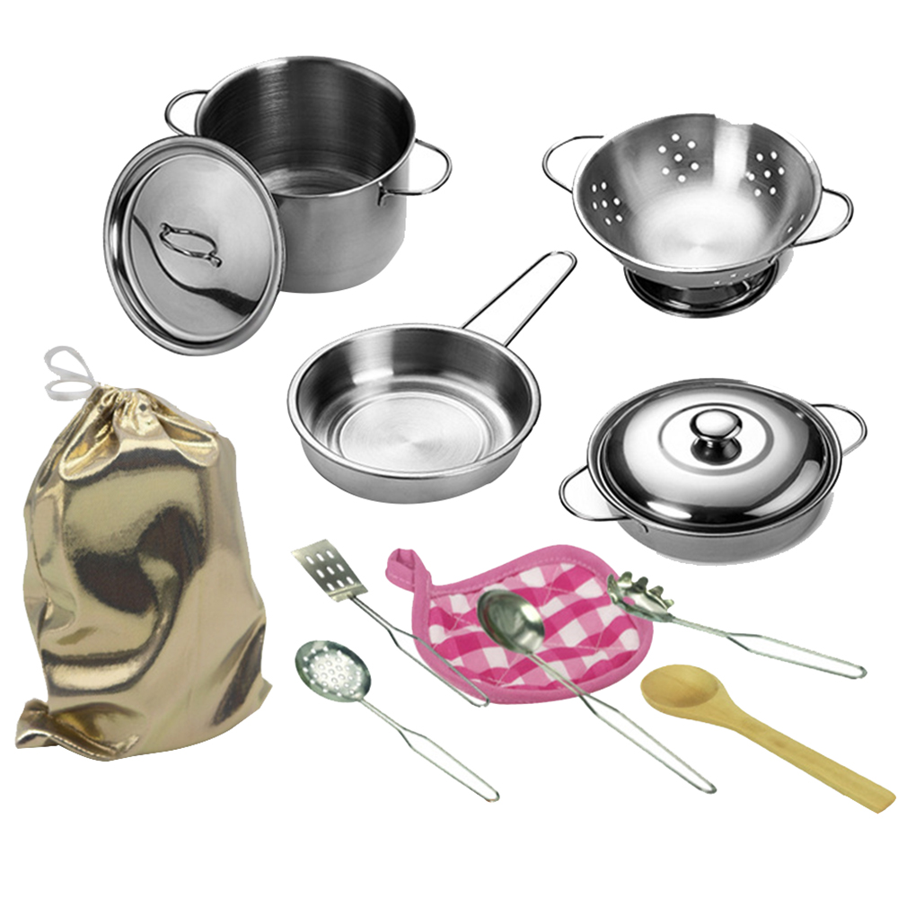 12Pcs Kid Pretend Play House Kitchen Toys Simulation Stainless Steel Cooking Pots Pans Food Kids Gifts Mini Kitchenware Set