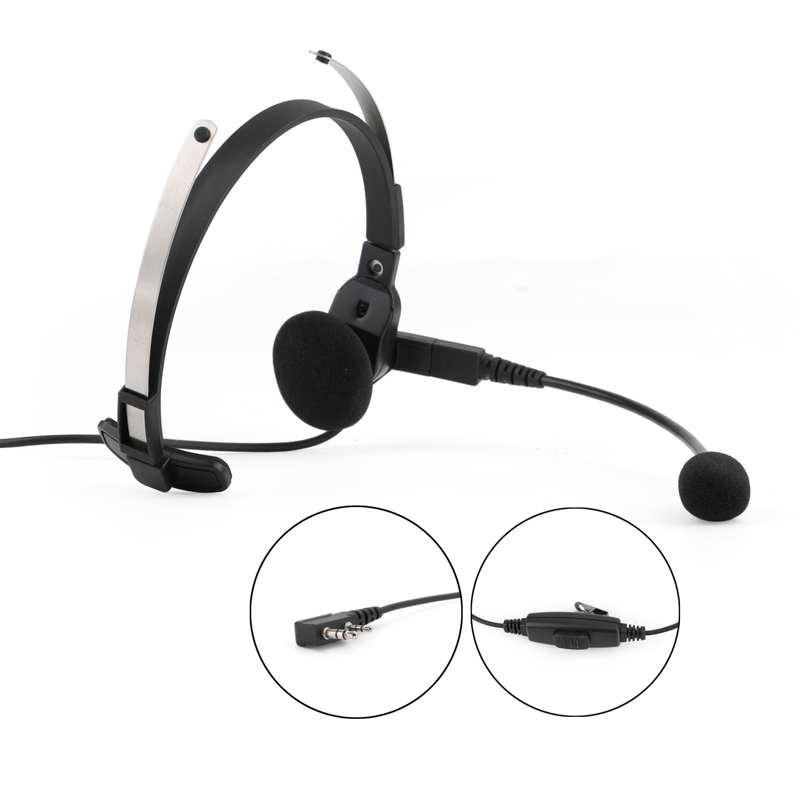 Artudatech Unilateral Headset K-head for Kenwood <font><b>TK</b></font>-208 <font><b>TK</b></font>-220 <font><b>TK</b></font>-240 <font><b>TK</b></font>-240D <font><b>TK</b></font>-248 <font><b>TK</b></font>-3202 <font><b>TK</b></font> <font><b>3107</b></font> image