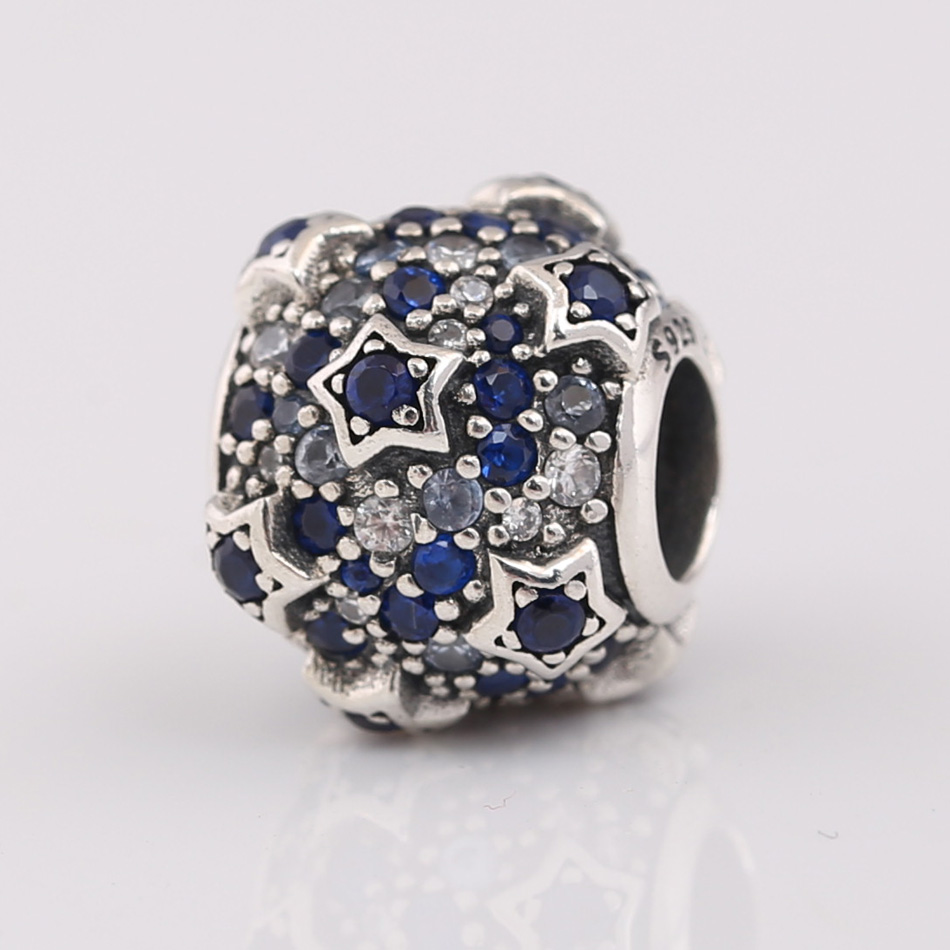 Authentic S925 Silver Bead DIY Jewelry Blue & Clear CZ Stars Charms fit Pandora Bracelet Girl Lady Birthday Gift(China)