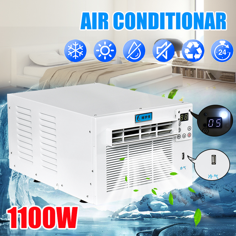 1100W Desktop Air Conditioner 24-hour Timer Cold/Heat Dual Use 220V/AC With Remote Control LED Control Panel Pet Air Conditione