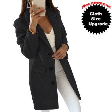 2019 frauen Wolle Mantel Winter Neue Casual Koreanische Version Schlank Lange Volle Hülse Anzug Plus Größe Warme Mantel Weibliche Drehen -unten Kragen